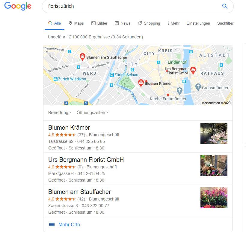 Screenshot Google Florist Zürich