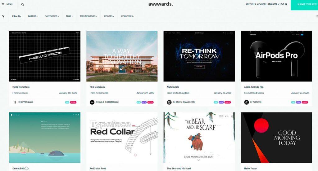 Screenshot Awwwards Webdesign