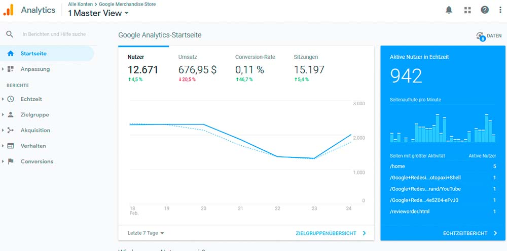 Screenshot Google Analytics
