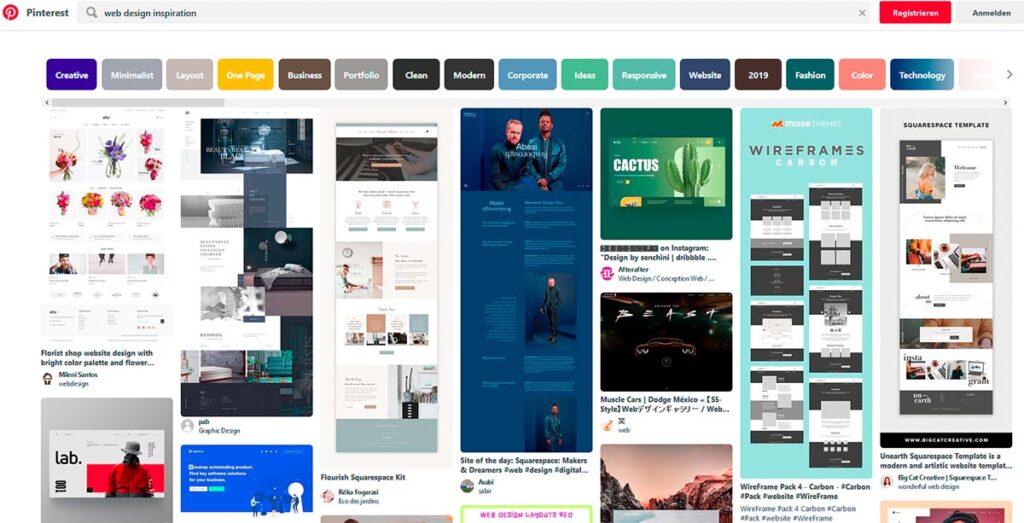 Screenshot Pinterest Webdesign
