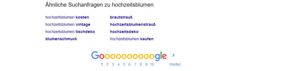 Ähnliche Suchanfragen bei Google
