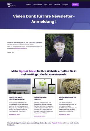 Screenshot Danke-Seite Newsletter